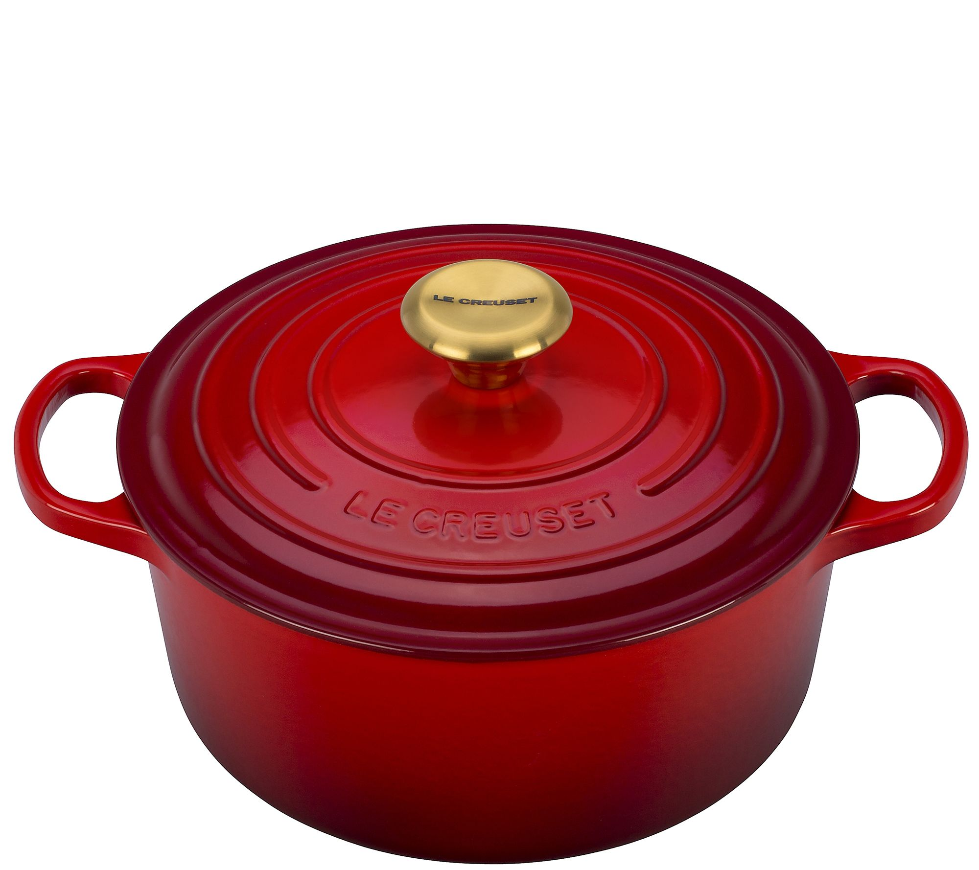 le creuset cerise 4 5 qt signature round dutch oven page 1. Black Bedroom Furniture Sets. Home Design Ideas