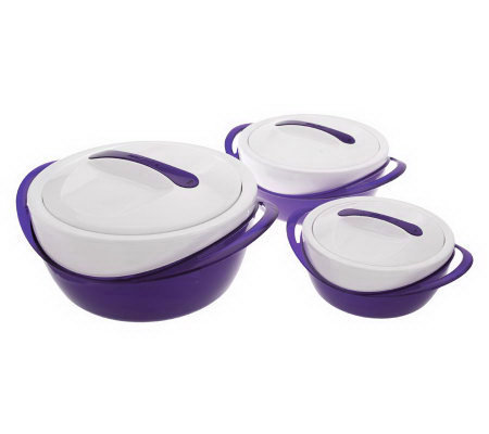set of 3 thermal hot cold serving bowls with lids. Black Bedroom Furniture Sets. Home Design Ideas