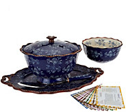 Temp-tations Floral Lace 6pc Serving Platter & Pedestal Bowl Set - K44467