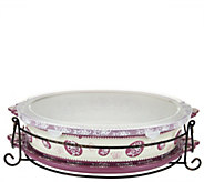 As Is Temp-tations Floral Lace 3 qt Oval Baker with Lid-It - K307468