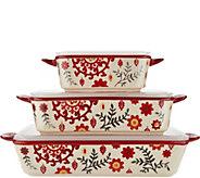 Cooks Essentials Del Rey 3-pc Ceramic Bakers with Lids - K45769