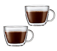 Bodum Bistro Set of 2 Cafe Latte Double Wall Glass Mugs - K297670
