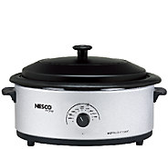 Nesco 6-qt Silvertone Roaster with Porcelain Cookwell - K303671
