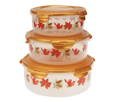 Lock & Lock 3-Piece Canister Bowl Storage Set w/ Holiday Print