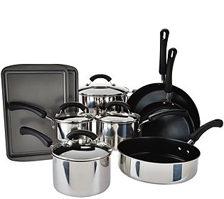 As Is Cooks Essentials 13 Pc. Stainless Steel Cookware Set