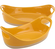 As Is Rachael Ray 2-piece Half Dipped Oval Baker Set - K307674