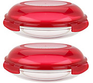 Lock & Lock Set of 2 Glass Pie Dishes with Lids - K45674