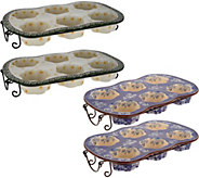 Temp-tations Old World or Floral Lace S/2 Flower Texas Muffin Pan Set - K46074