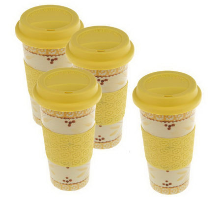 Temp-tations Old World Set of 4 Travel Mugs w/Silicone Grip