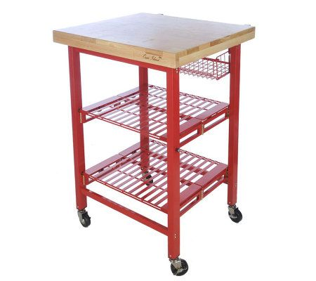 Folding Island Kitchen Cart With Colored Metal Frame Storage Basket Page 1