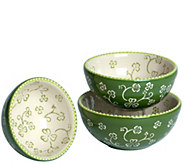 Temp-tations Floral Lace Set of 3 Nested Prep Bowls - K377375