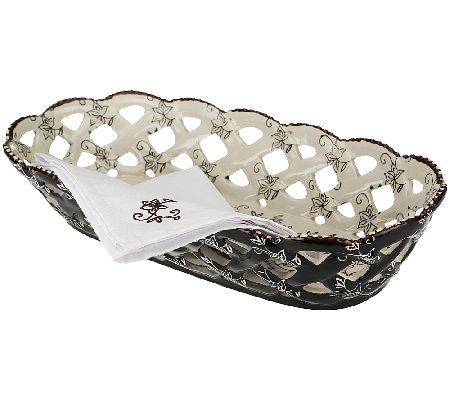 Temp tations floral lace bread basket with cloth napkin qvc com
