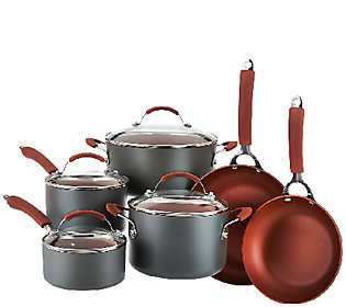 As Is Cook's Essentials Hard Anodized 10 Piece Cookware Set