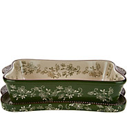 As Is Temp-tations Floral Lace 11x7 Baker with Deep Lid-It - K307477