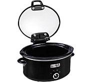 CrockPot 6-Quart Slow Cooker with Hinged Lid -Black - K375177