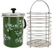 Temp- tations Floral Lace Enamel Multipot with Glass Lid and Basket - K44377