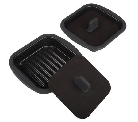 Prepology Set of 2 Microwave Mini Square Grill Pans w/Presses