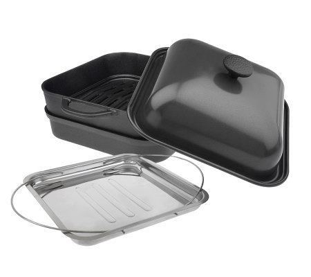 "Technique Pre-seasoned Cast Iron 11"" BBQ Grill Pan & Smoker"