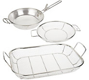 As Is Cooks Essentials BBQ Must-Have 3 pc Stainless Steel Baskets - K307579