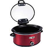 CrockPot 6-Quart Slow Cooker with Hinged Lid -Red - K375179