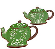 Temp-tations Floral Set of 2 Teapot Spoon Rests - K377379