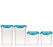Lock & Lock 4 piece Tall Canister Storage Set w/ Color Lids - K43079