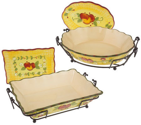 Temp-tations Fresh Crop 4pc. Oven-to-Table Set with Ceramic Trivets