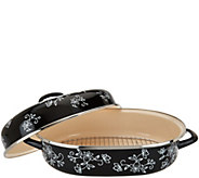 As Is Temp-tations Floral Lace 16.5 Oval Covered Roaster - K307680