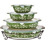 As Is Temp-tations Floral Lace Set of 4 Oval Bakers - K307980