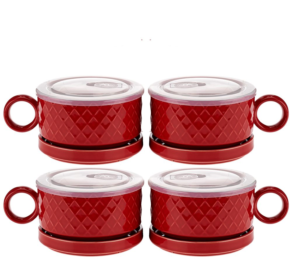Microwavable S 4 Ceramic Soup Bowls Saucers With Microwave Lids Page 1 Qvc