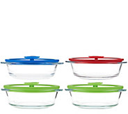 CooksEssentials 4-Piece Multi-Color Glass Baking & Serve Set - K43280