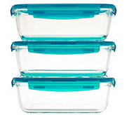 Lock & Lock Set of 3 Rectangle Glass Storage Set - K43681