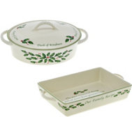 Lenox Holiday Porcelain Covered Casserole or Rectangle Baker