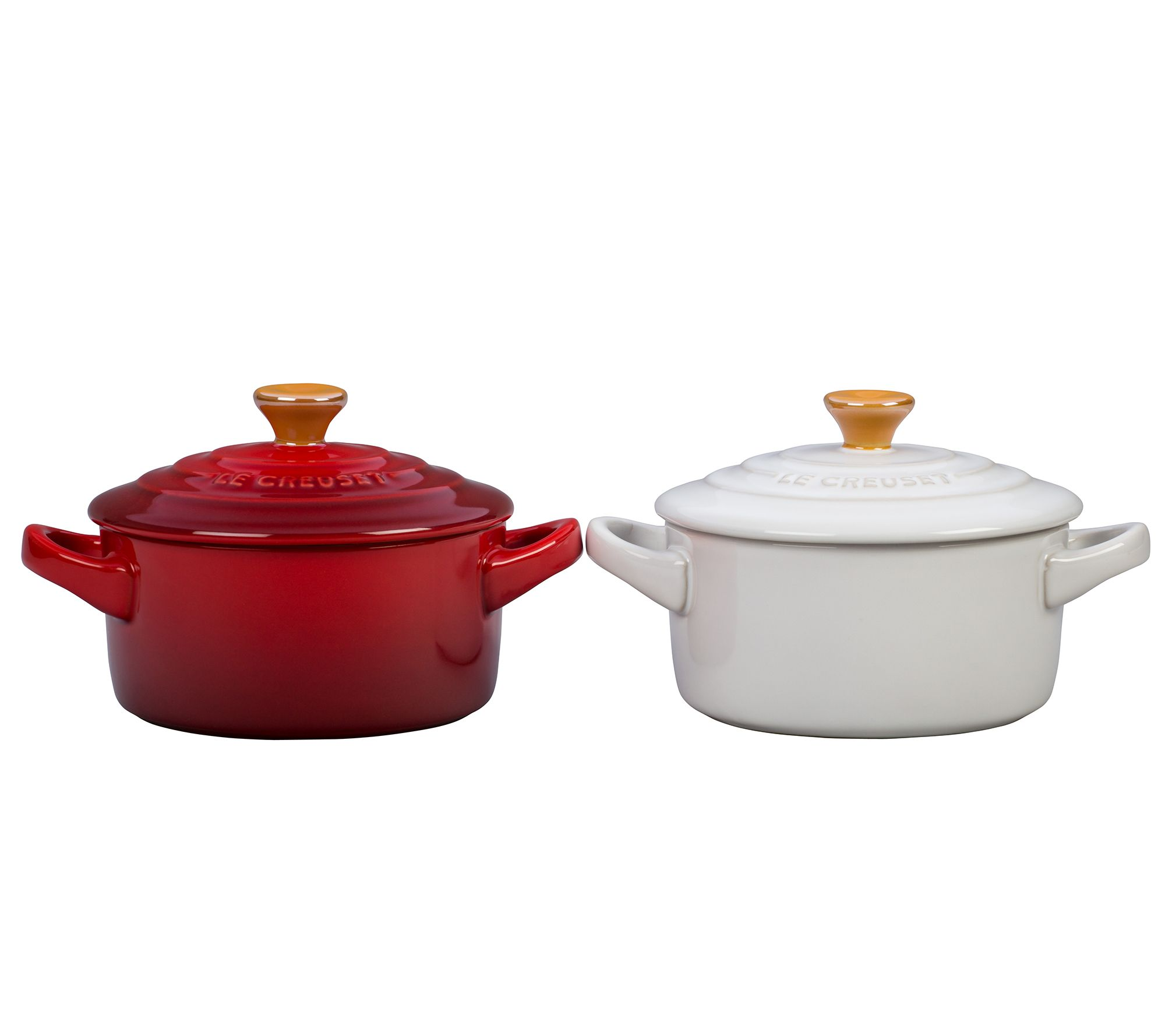 le creuset red and white 8 oz mini cocotte setwith gold knob. Black Bedroom Furniture Sets. Home Design Ideas
