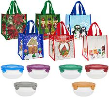 Lock & Lock 6-piece Bowl Set with 6 Holiday Gift Bags