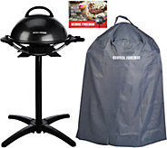 George Foreman Indoor/Outdoor Grill w/ Cover & Recipes - K45883