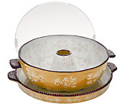 As Is Temp-tations Floral Lace Fluted Tube Pan w/ Serving Tray - K307187