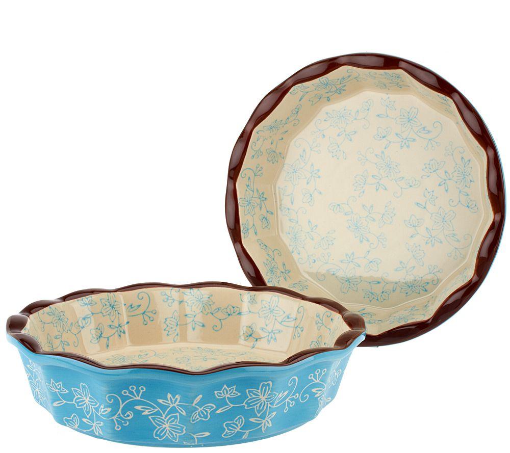 Temp-tations Floral Lace Set of 2 9\  Deep Dish Pie Plates - Page 1 \u2014 QVC.com  sc 1 st  QVC.com & Temp-tations Floral Lace Set of 2 9\