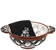 Temp-tations Floral Lace Figural Round Bread Basket w/Cloth Napkin - K41288