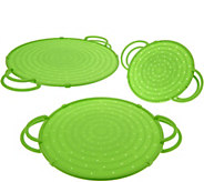 CooksEssentials Set of 3 Splatter Guards w/Stand Up Handle - K42288
