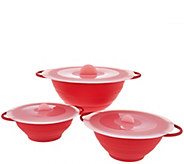 Cooks Essentials Set of 3 Collapsible Bowls w/ Lids - K44188