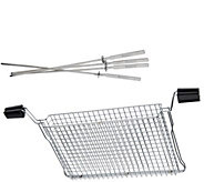 Ronco Ready Grill All Purpose Mesh Basket w/ Four Kabob Rods - K44688