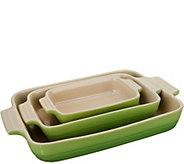 Le Creuset 3 Piece Stoneware Rectangular Dish Set - K46189