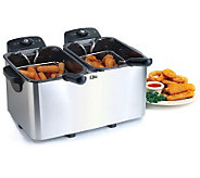 Elite Platinum Stainless Steel Dual 3-qt Deep Fryer - K302090