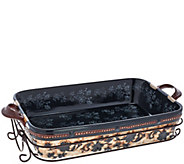 As Is Temp-tations 13x9 Floral Lace Basket Weave Baker - K307390