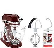 KitchenAid 5qt. 300W Tilt Head Stand Mixer w/Glass Bowl & Flex Edge - K44890