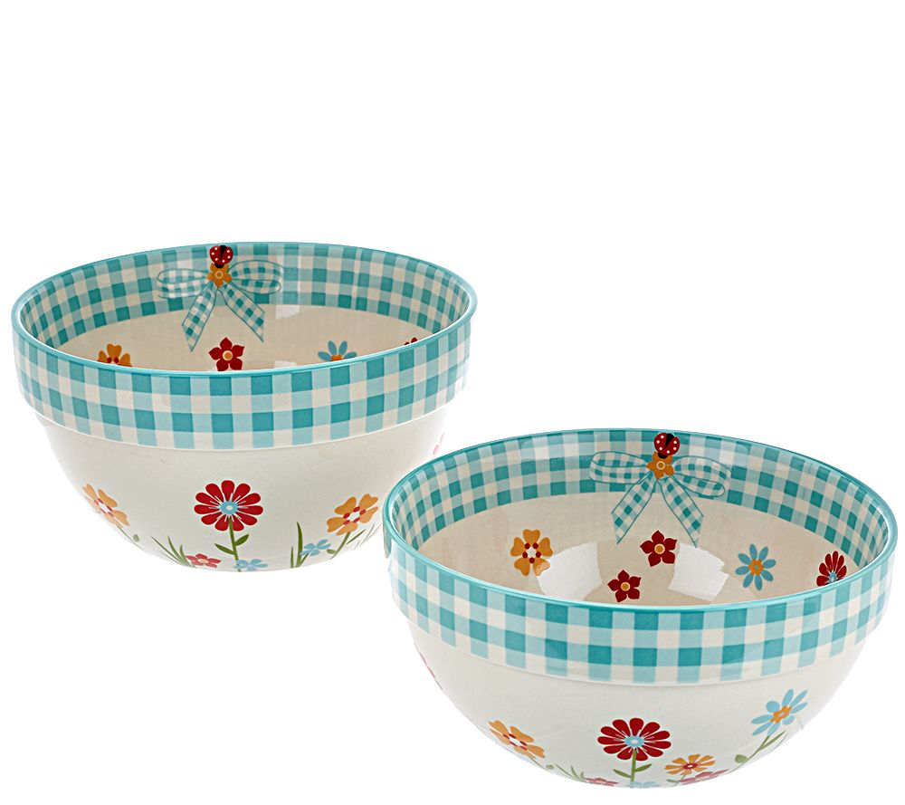 Temp-tations Gingham Gardens Set of 2 Stacking Bowls - Page 1 — QVC.com