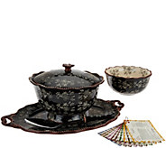 Temp-tations Floral Lace 6pc Serving Platter & Pedestal Bowl Auto-Delivery - K45191