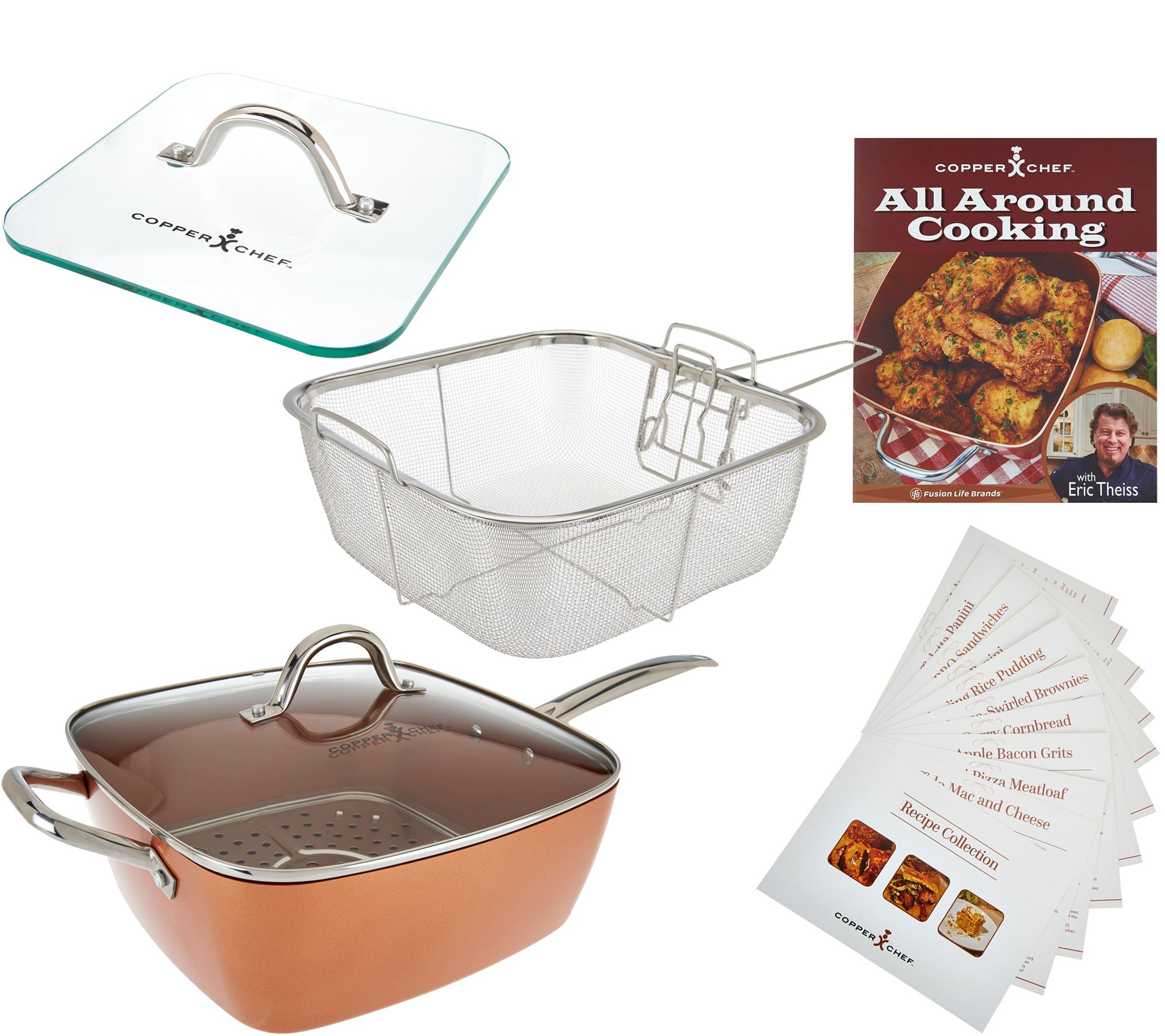 Quot As Is Quot Copper Chef Xl 11 Quot Square Pan With 4 Pc Cooking