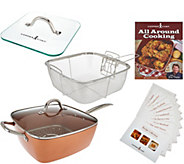 As Is Copper Chef XL 11 Square Pan with 4-pc Cooking System & Recipe - K307693